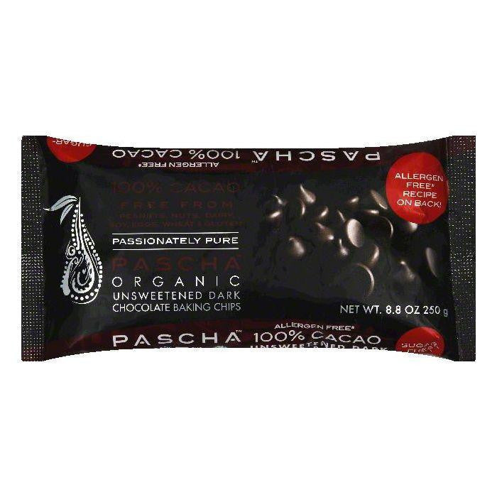Pascha Organic Unsweetened Dark Chocolate Baking Chips, 8.8 OZ (Pack of 6)