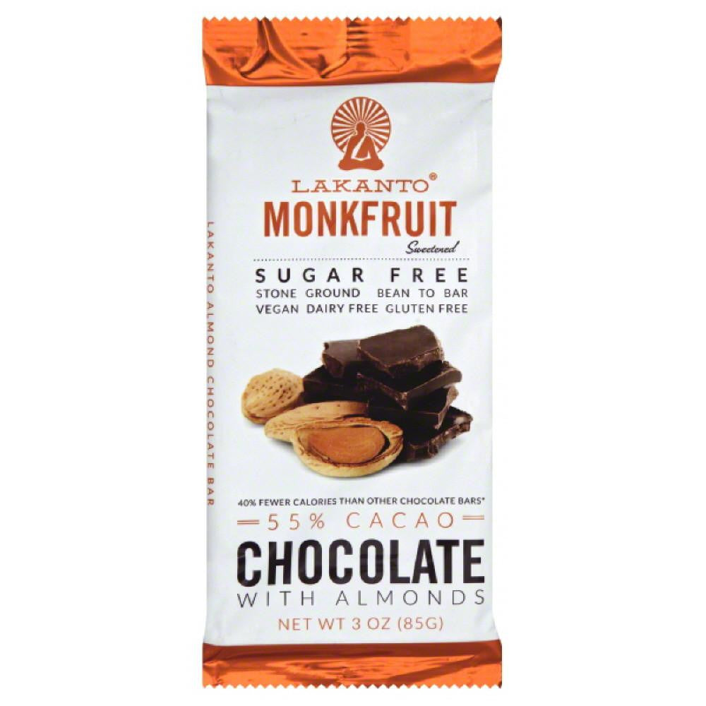 Lakanto 55% Cacao Sugar Free Monkfruit with Almonds Chocolate Bar, 3 Oz (Pack of 8)