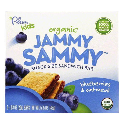 Plum Blueberries & Oatmeal Organic Snack Size Sandwich Bar, 5 ea (Pack of 6)