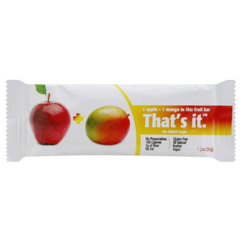 Thats It 1 Apple + 1 Mango Fruit Bar, 1.2 Oz (Pack of 12)