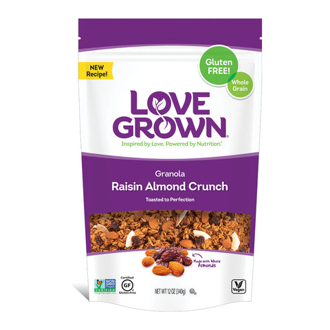 Love Grown Raisin Almond Crunch Granola, 12 Oz (Pack of 6)
