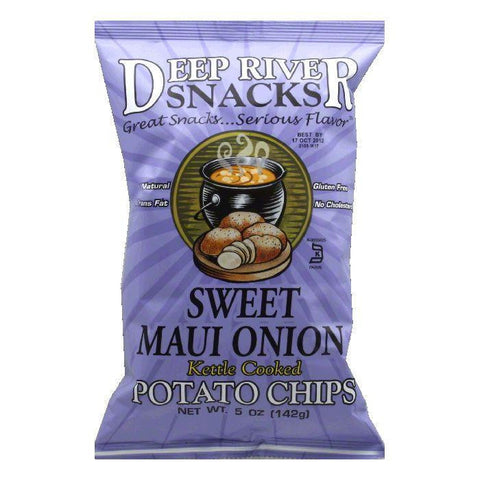 Deep River Sweet Maui Onion Kettle Chips, 5 OZ (Pack of 12)