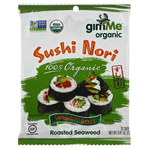 Gimme Sushi Nori Wrap n' Roll Roasted Seaweed, 0.81 Oz (Pack of 12)