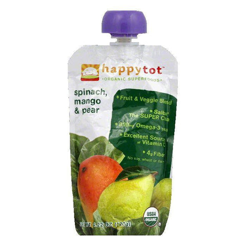 Happy Baby Mango & Pear Pouch Stage 4 Spinach, 4.22 OZ (Pack of 16)
