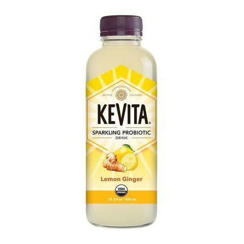 Kevita Lemon Ginger Sparkling Probiotic Ready to Drink, 15.2 Oz (Pack of 6)