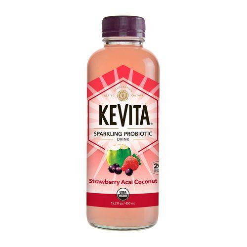Kevita Strawberry Acai Coconut Sparkling Probiotic Ready to Drink, 15.2 Oz (Pack of 6)