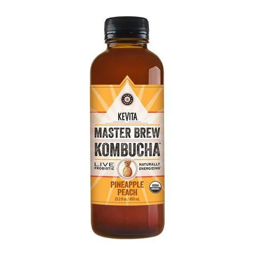 Kevita Master Brew Kombucha Pineapple Peach, 15.2 Oz (Pack of 6)