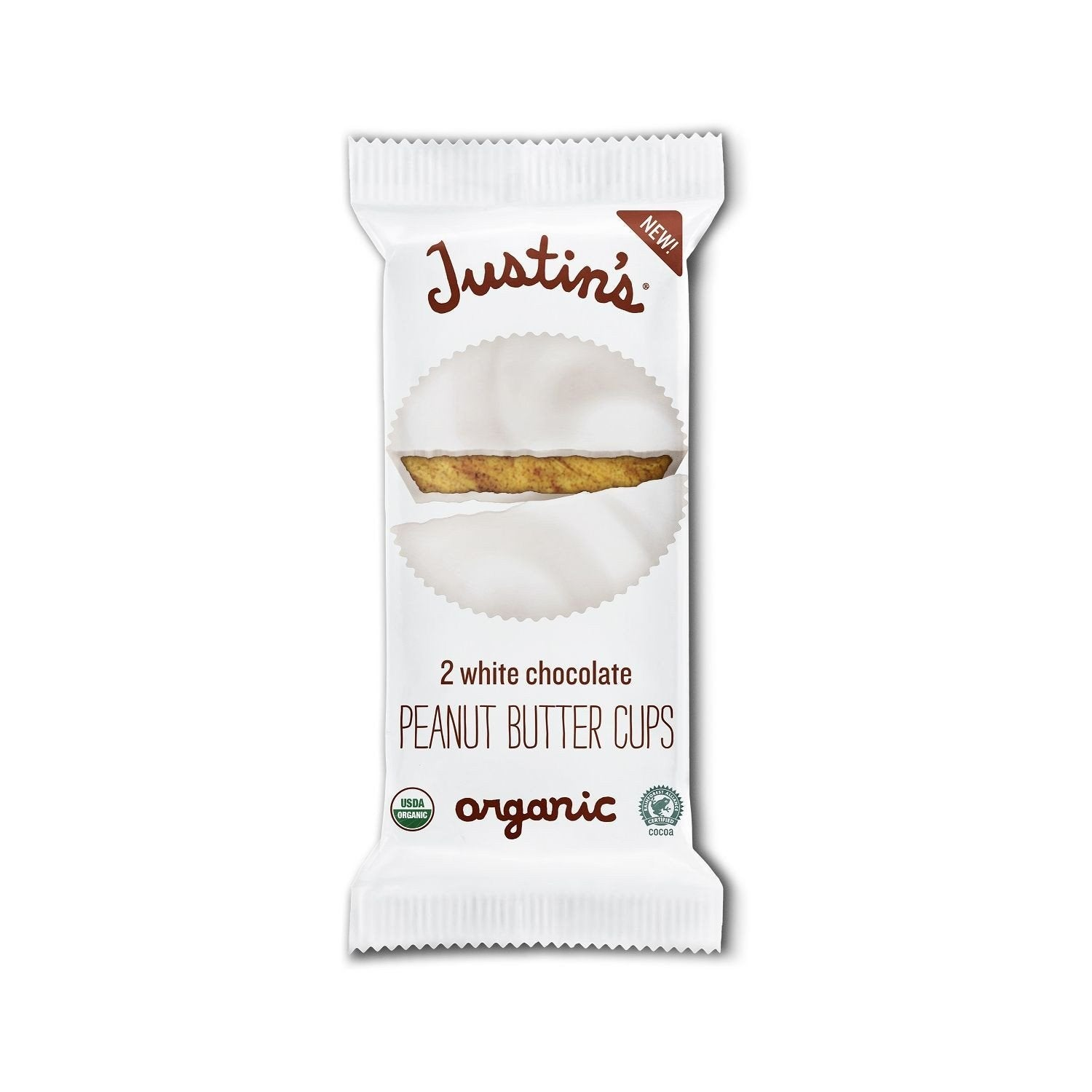 Justin's White Chocolate Organic Peanut Butter Cups, 1.4 Oz (Pack of 12)