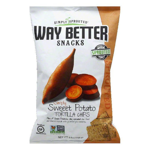 Way Better Snacks Simply Sweet Potato Tortilla Chips, 5.5 OZ (Pack of 12)