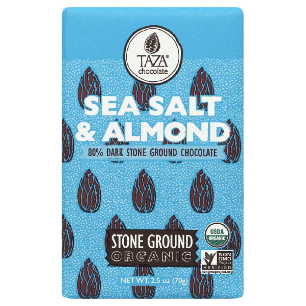Taza Sea Salt & Almond Organic Stone Ground Dark Chocolate, 2.5 Oz (Pack of 10)