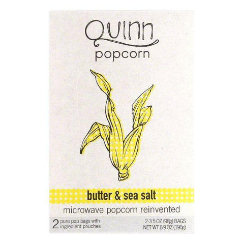Quinn Butter & Sea Salt Microwave Popcorn, 2 ea (Pack of 6)