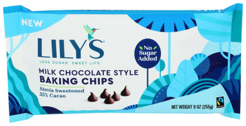 Lily's Sweets Milk Chocolate Baking Chips, 9 Oz (Pack of 12)