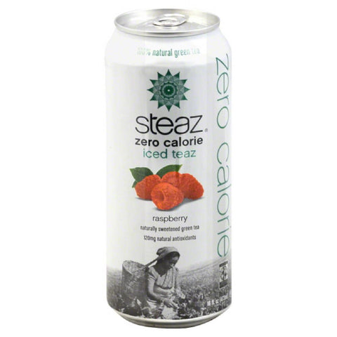 Steaz Raspberry Zero Calorie Green Tea, 16 Fo (Pack of 12)
