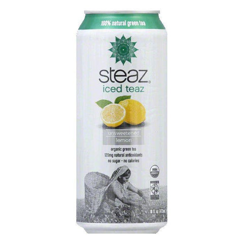 Steaz Gluten Free Unsweetened Lemon Green Iced Tea Can, 16 FO (Pack of 12)