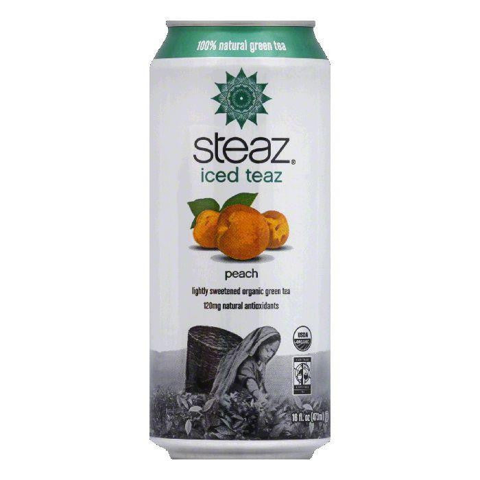 Steaz Gluten Free Peach Green Iced Tea Can, 16 FO (Pack of 12)