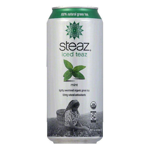 Steaz Gluten Free Mint Green Iced Tea Can, 16 FO (Pack of 12)