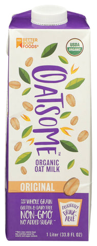 Oatsome Organic Oat Milk, 33.8 fl oz (Pack of 6)