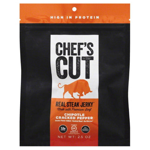 Chefs Cut Chipotle Cracked Pepper Real Steak Jerky, 2.5 Oz (Pack of 8)