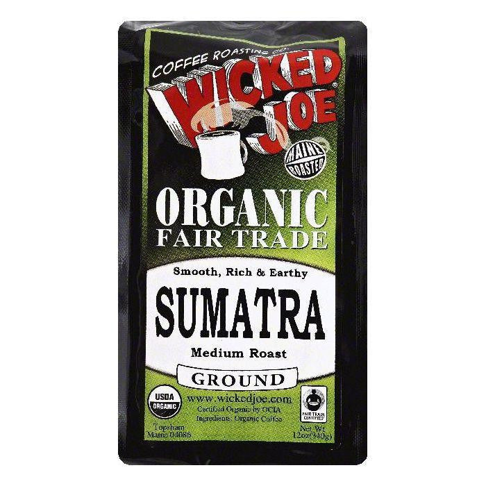 Wicked Joe Sumatra Medium Roast Ground Organic Coffee, 12 OZ (Pack of 6)