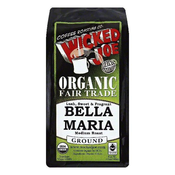 Wicked Joe Bella Maria Medium Roast Ground Organic Coffee, 12 OZ (Pack of 6)
