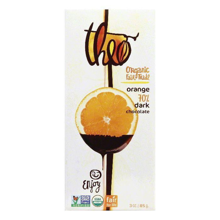 Theo Orange Dark Chocolate, 3 Oz (Pack of 12)