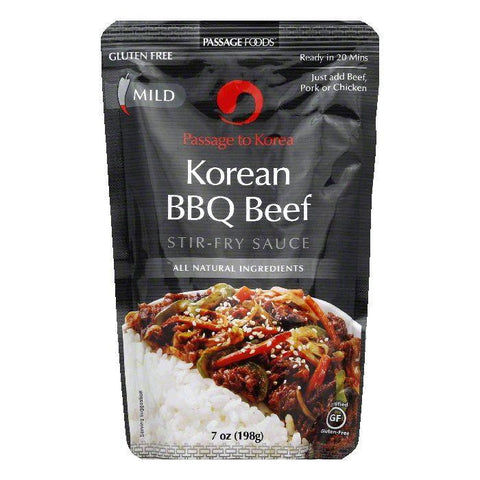 Passage Foods Mild Korean BBQ Beef Stir-Fry Sauce, 7 Oz (Pack of 6)