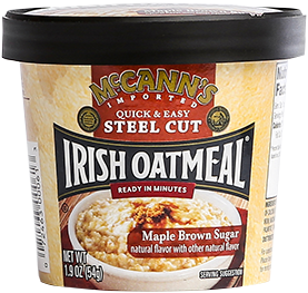 McCann's Quick & Easy Steel Cut Oatmeal Single Serve Cups Maple Brown Sugar, 1.9 OZ (Pack of 12)