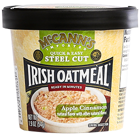 McCann's Quick & Easy Steel Cut Oatmeal Single Serve Cups Apple Cinnamon, 1.9 OZ (Pack of 12)