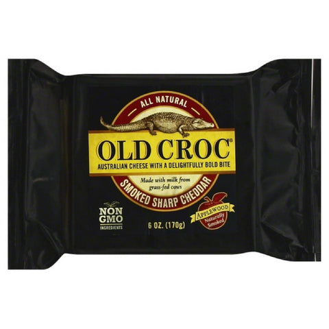Old Croc Smoked Sharp Cheddar Cheese, 6 Oz (Pack of 12)