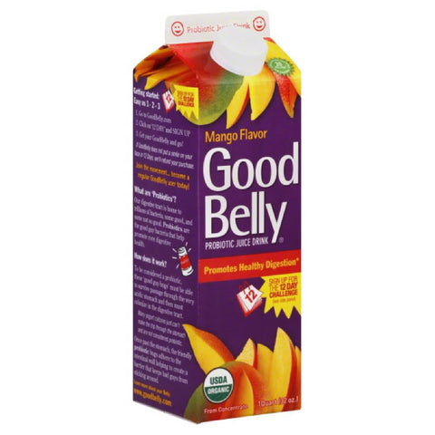 Good Belly Mango Flavor Probiotic Juice Drink, 32 Oz (Pack of 6)