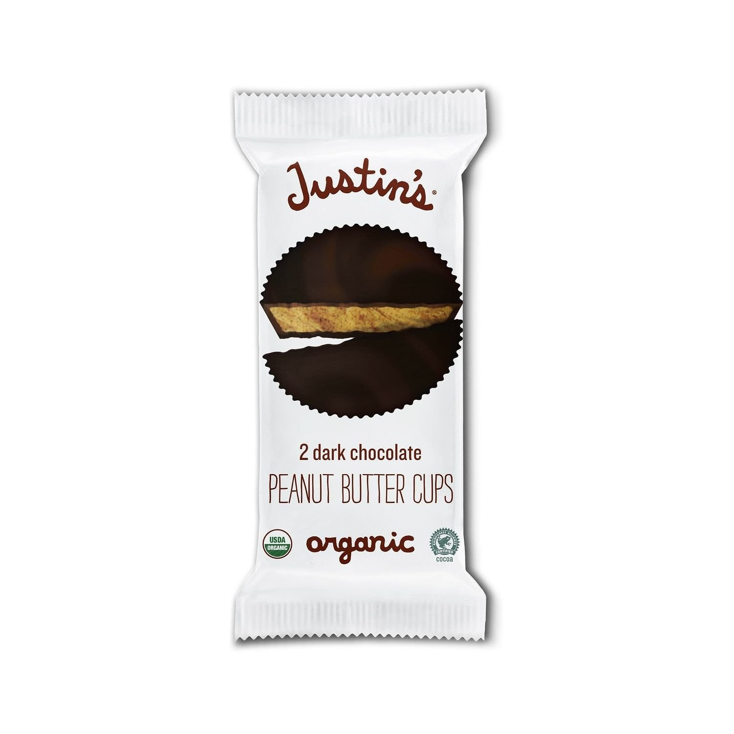 Justin's Dark Chocolate Organic Peanut Butter Cups, 1.4 Oz (Pack of 12)