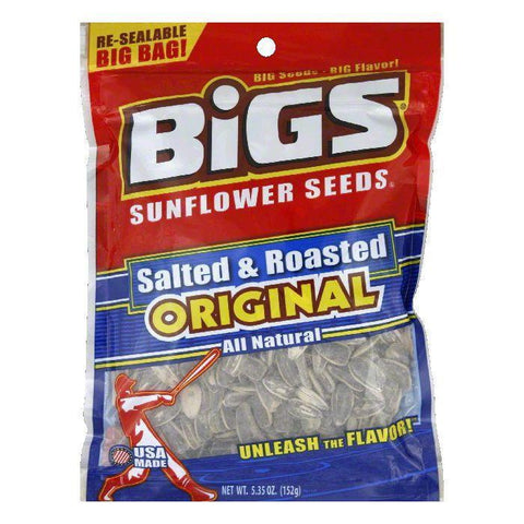 Bigs Salted and Roasted Sunflower Seeds, 5.35 OZ (Pack of 8)