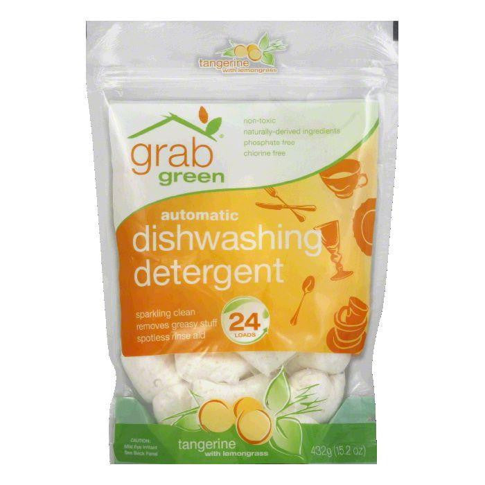 GrabGreen Tangerine & Lemongrass Dishwasher Detergent 24 Loads, 15.2 OZ (Pack of 6)