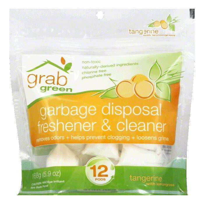 GrabGreen Tangerine & Lemongrass Garbage Disposal Freshener & Cleaner, 5.9 OZ (Pack of 12)