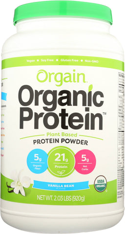Orgain Sweet Vanilla Bean Organic Protein Powder, 2.05 lb (Pack of 3)