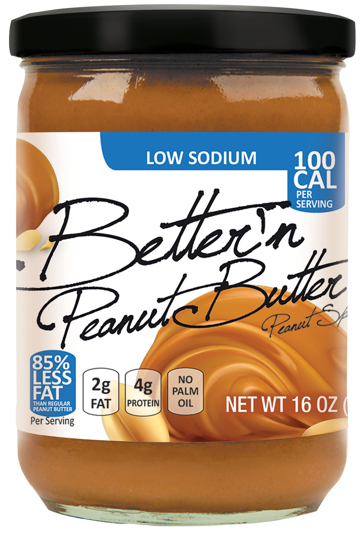 Better'n Low Sodium Peanut Butter, 16 OZ (Pack of 6)