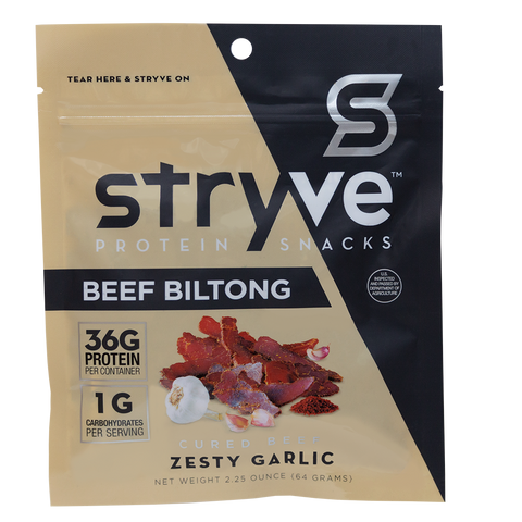 Stryve Protein Snacks Sliced Beef Biltong-Zesty Garlic, 2.5 Oz (Pack of 12)