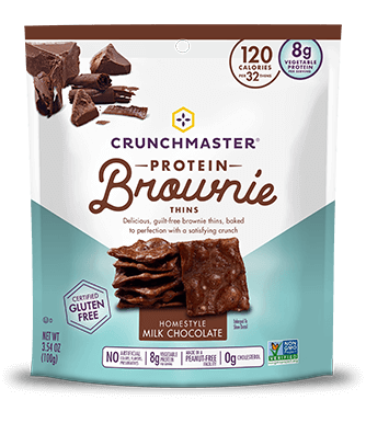 Crunchmaster  Homestyle Milk Chocolate Protein Brownie Thins, 3.54 OZ (Pack of 12)
