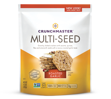 Crunchmaster Multi-Seed Roasted Garlic Cracker, 4.5 OZ (Pack of 12)
