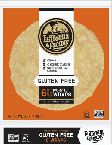 La Tortilla Factory Gluten Free, Wheat Free Wraps, Ivory Teff, 6 Ea (Pack of 10)