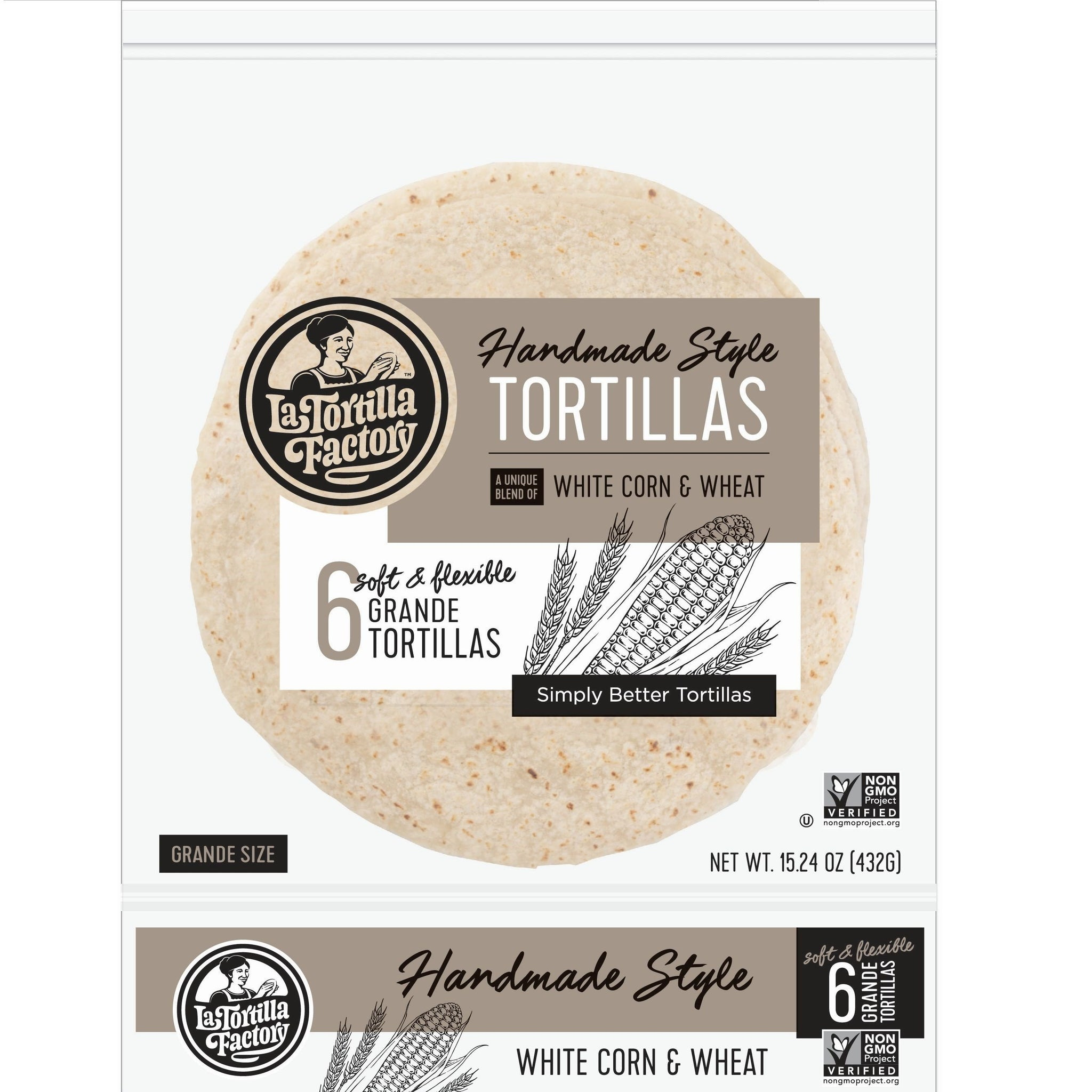 La Tortilla Factory Non-GMO Hand Made Style Tortillas, White Corn & Wheat, Grande, 6/pack  (Pack of 12)