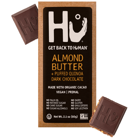 HU Products, Almond Butter + Puffed Quinoa Dark Chocolate 2.10 OZ, (Pack of 12)