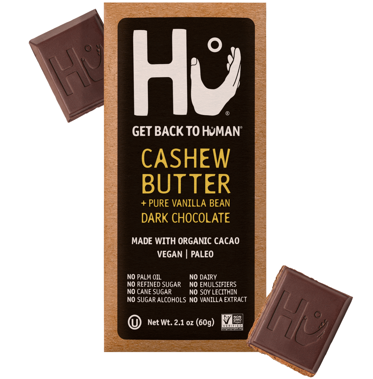 HU Cashew Butter + Vanilla Bean Dark Chocolate Bar, 2.10 OZ (Pack of 12)