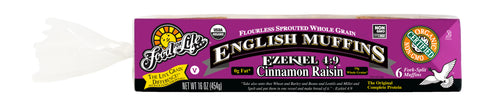 Food For Life Organic Ezekiel 4:9 Sprouted Whole Grain Cinnamon Raisin English Muffins, 16 Oz (Pack of 6)