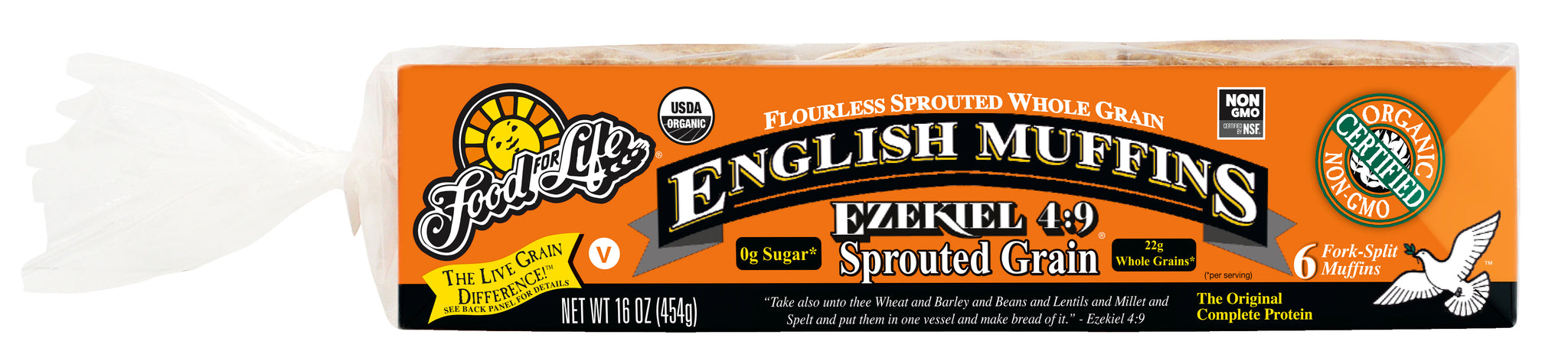 Food For Life Organic Ezekiel 4:9 Sprouted Whole Grain English Muffins, 16 Oz (Pack of 6)