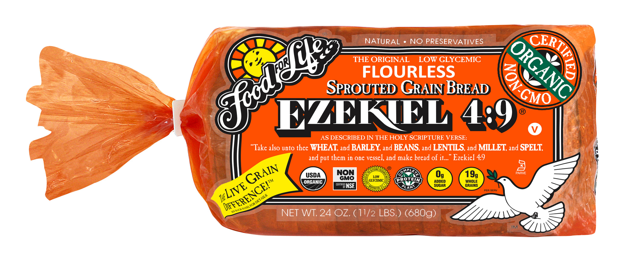 Food For Life Organic Ezekiel 4:9 Sprouted Whole Grain Bread, 24 Oz (Pack of 6)