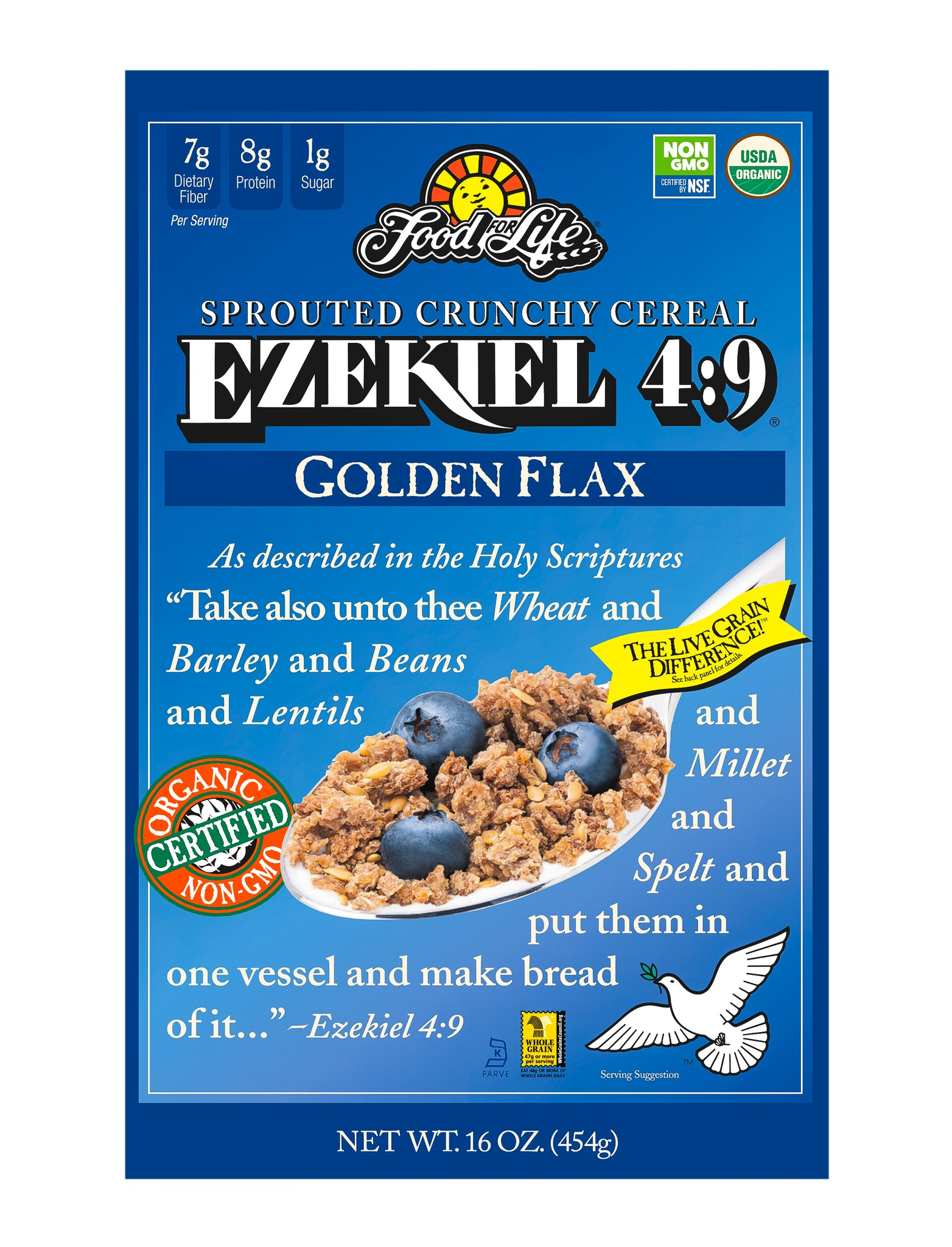 Food For Life Organic Ezekiel 4:9 Sprouted Whole Grain Cereal, Golden Flax , 16 Oz (Pack of 6)