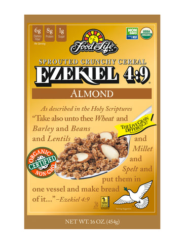 Food For Life Organic Ezekiel 4:9 Sprouted Whole Grain Cereal, Almond , 16 Oz (Pack of 6)