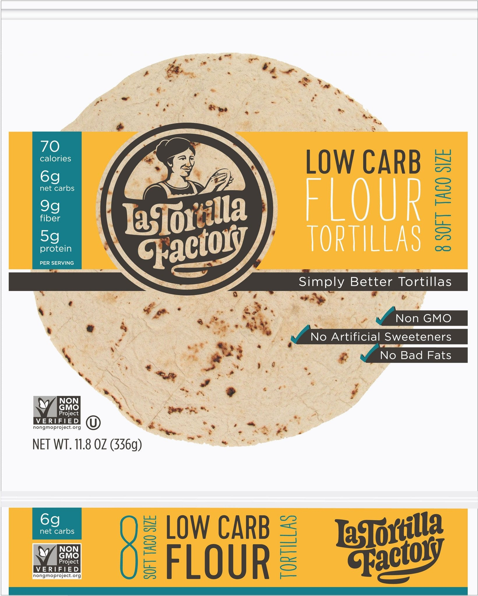 La Tortilla Factory Low Carb, High Fiber Tortillas, Traditional Flour, 8 Ea (Pack of 14)