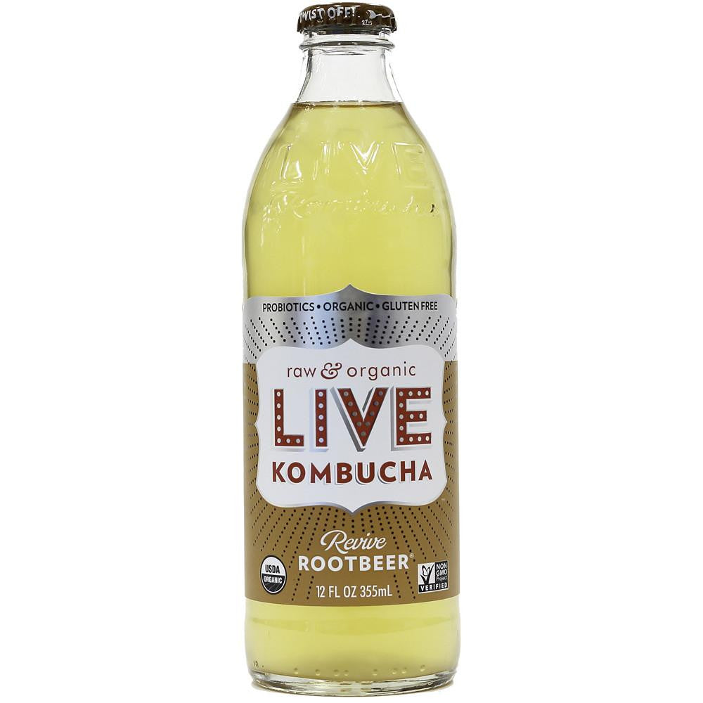 Live Beverage Revive Rootbeer Kombucha, 12 Oz (Pack of 8)
